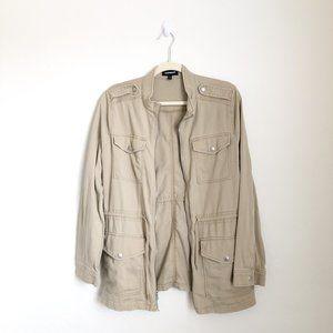 Express Tan Waist Draw String Utility ZipUp Jacket